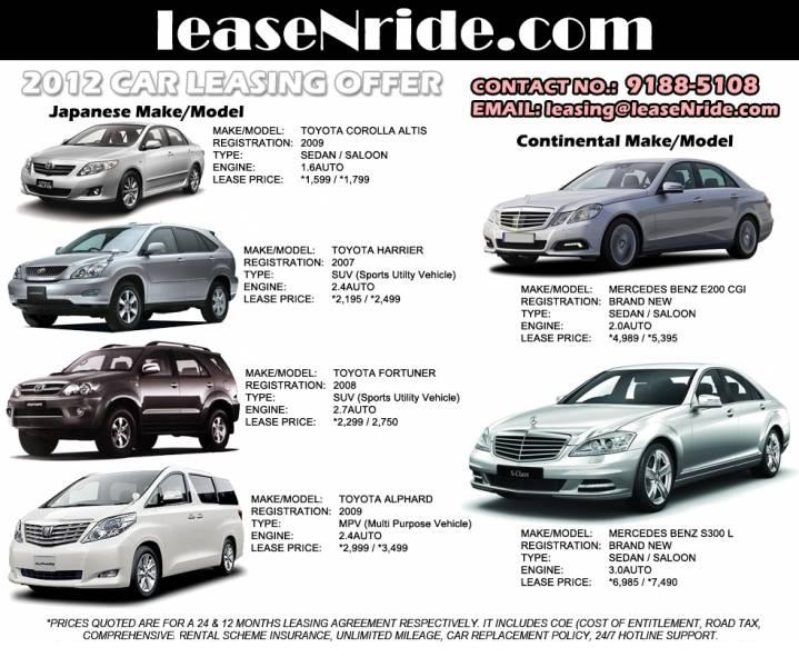 Various Make Models Cars Available For Lease Starting At 1 195sgd
