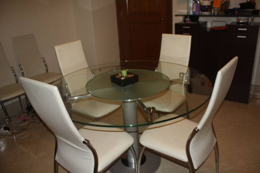 round glass dining table with in built lazy susan including four