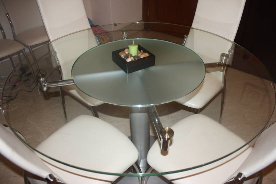 Round Glass Dining Table With In Built Lazy Susan And 4 2 Chairs