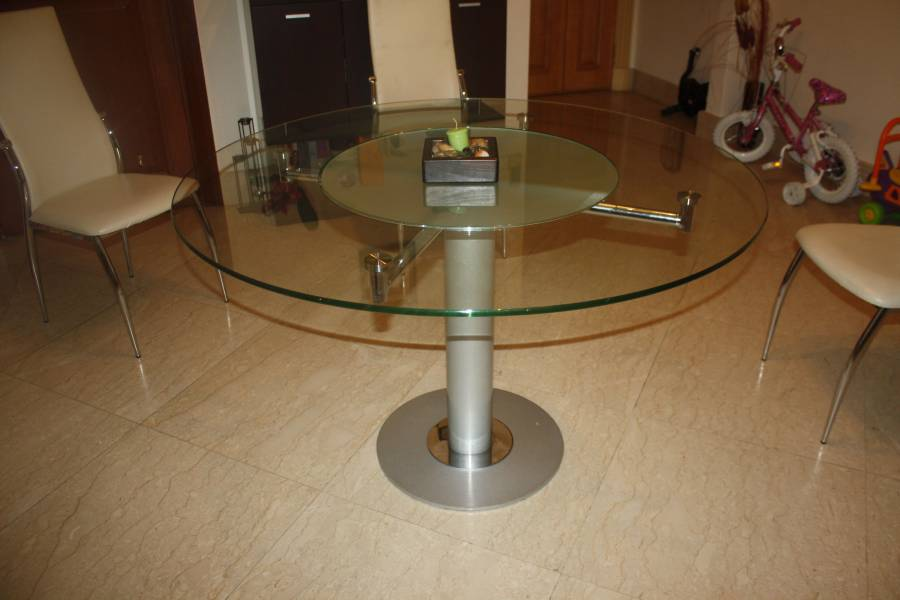 Round glass dining table with in built Lazy Susan and 4 2  : 1332568808img5185 from classifieds.singaporeexpats.com size 900 x 600 jpeg 45kB