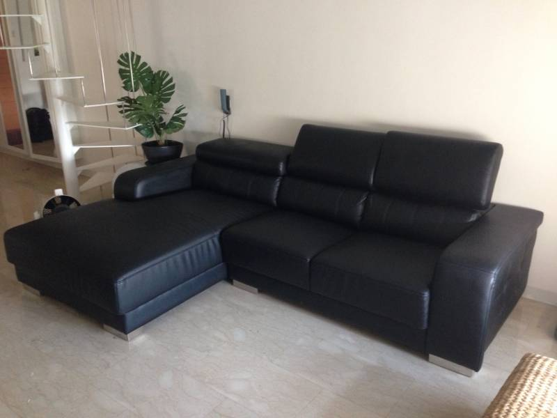 all leather casa italy black l shaped 3 seater sofa for sale singapore classifieds. Black Bedroom Furniture Sets. Home Design Ideas
