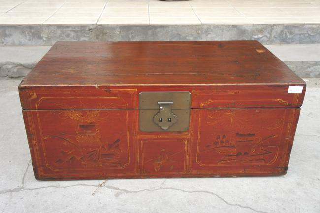 Dark wood teak chest treasure box cabinet chest box for for Dark wood trunk coffee table