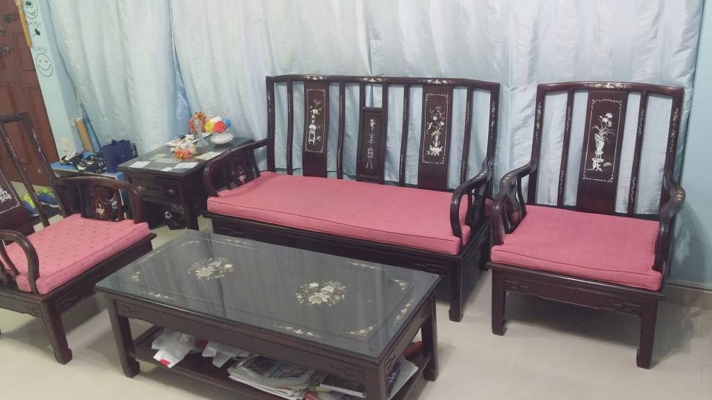 Used Rosewood Sofa Set With Tv Console For Sale