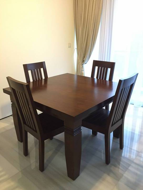 5ea0dbd8d463 3 years old in excellent condition. Purchased from Pasardina Fine Living    Dempsey Hill High quality Indonesian teak 120x120 square table   4 chairs