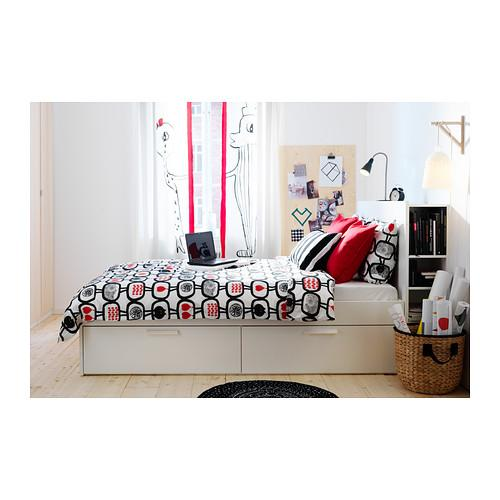 Practically New Ikea Queen White Brimnes Bed Frame With Attached 4 Drawers Headboard Mattress