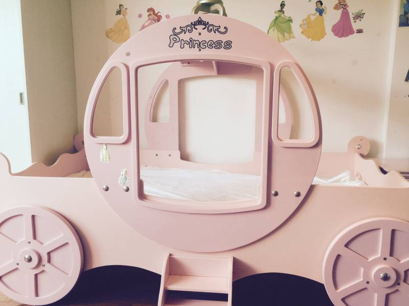 Beautiful And Much Loved Pink Wood Cinderella Carriage Bed. Has Four  Wheels, Stairs Either Side And Topped With A Crown. Perfect For A Little  Girl Who Loves ...