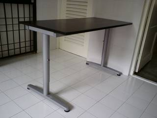 Superieur Ikea Galant T Leg Desk. 120cm X 60 Cm. Black Brown Table Top, Silver Grey Height  Adjustable T Legs. Easy To Assemble / Disassemble And Transport.