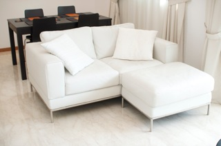 Ikea Arild 2 Seat White Leather Sofa And Foot Stool Singapore