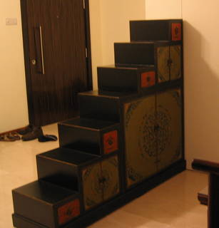 Oriental Painted Tansu Step Storage Cabinet • Singapore Classifieds