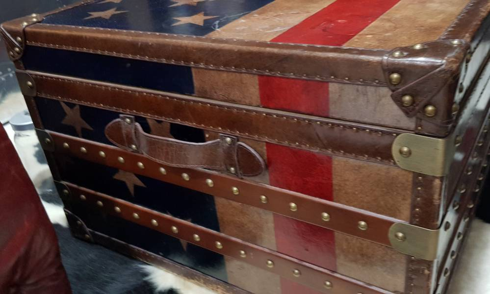 Hand Drawn American Flag Full Leather Trunk Coffee Table