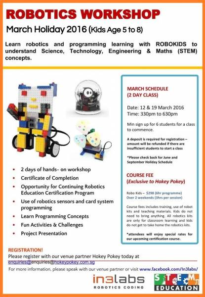 March Holiday Kids Camp Robotics Workshop Singapore Classifieds